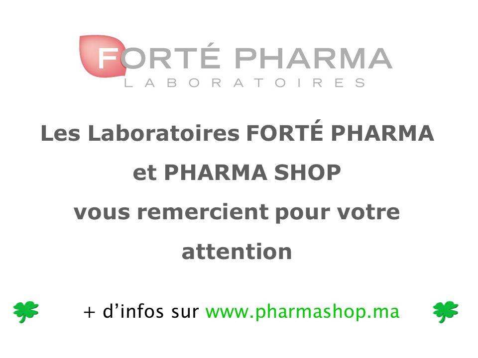 Les Laboratoires FORTÉ PHARMA et PHARMA SHOP vous remercient pour votre attention + dinfos sur www.pharmashop.ma