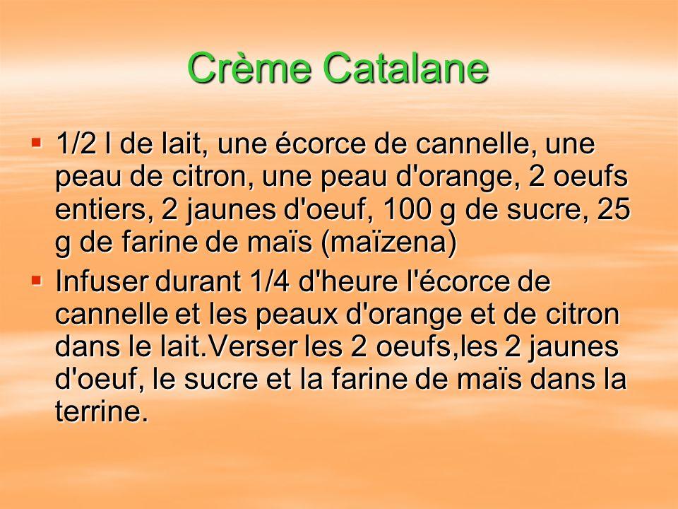Crème Catalane 1/2 l de lait, une écorce de cannelle, une peau de citron, une peau d'orange, 2 oeufs entiers, 2 jaunes d'oeuf, 100 g de sucre, 25 g de