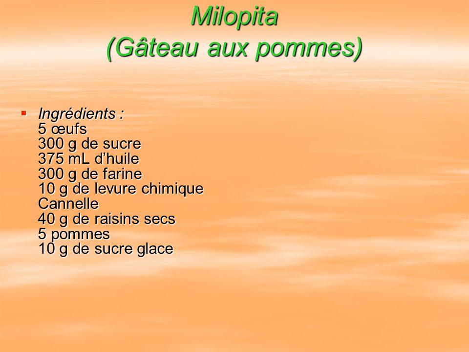 Milopita (Gâteau aux pommes) Ingrédients : 5 œufs 300 g de sucre 375 mL dhuile 300 g de farine 10 g de levure chimique Cannelle 40 g de raisins secs 5