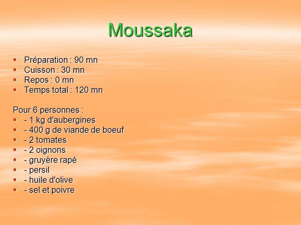 Moussaka Préparation : 90 mn Préparation : 90 mn Cuisson : 30 mn Cuisson : 30 mn Repos : 0 mn Repos : 0 mn Temps total : 120 mn Temps total : 120 mn P