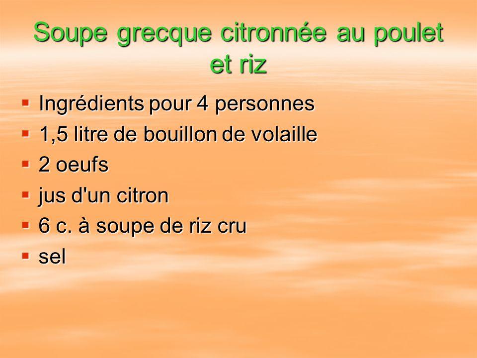 Soupe grecque citronnée au poulet et riz Ingrédients pour 4 personnes Ingrédients pour 4 personnes 1,5 litre de bouillon de volaille 1,5 litre de boui