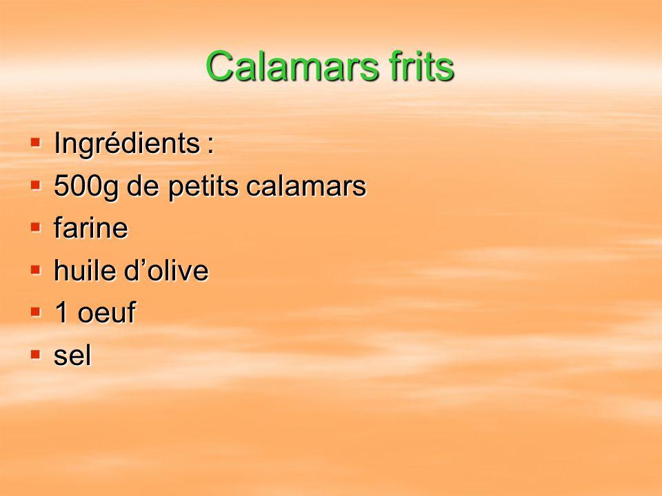 Calamars frits Ingrédients : Ingrédients : 500g de petits calamars 500g de petits calamars farine farine huile dolive huile dolive 1 oeuf 1 oeuf sel s
