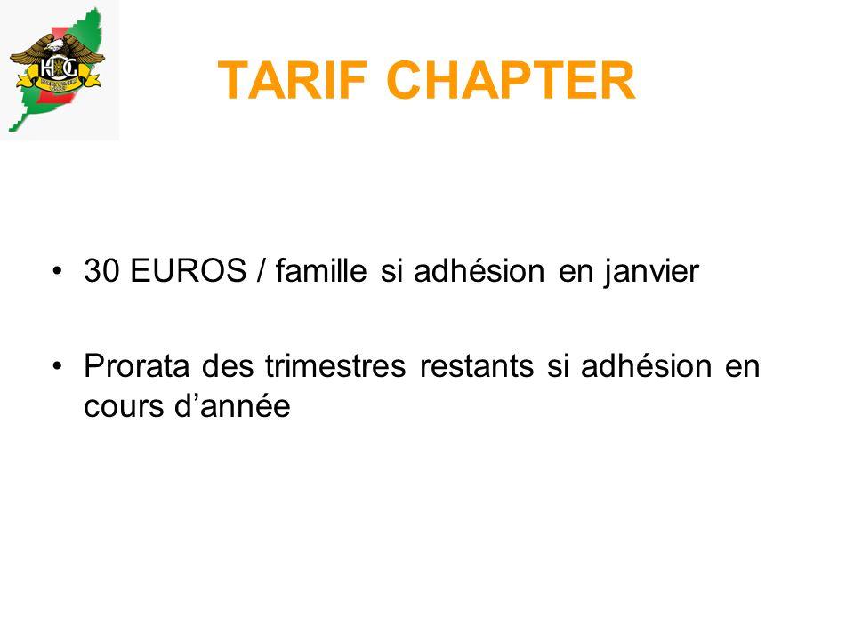 TARIF CHAPTER 30 EUROS / famille si adhésion en janvier Prorata des trimestres restants si adhésion en cours dannée