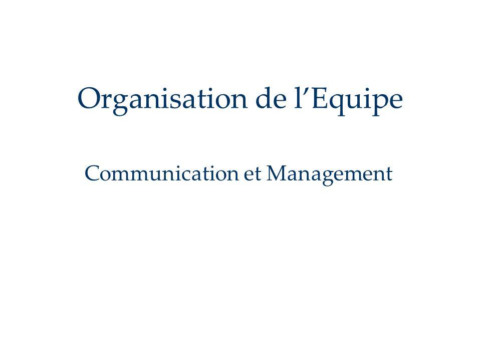 Organisation de lEquipe Communication et Management