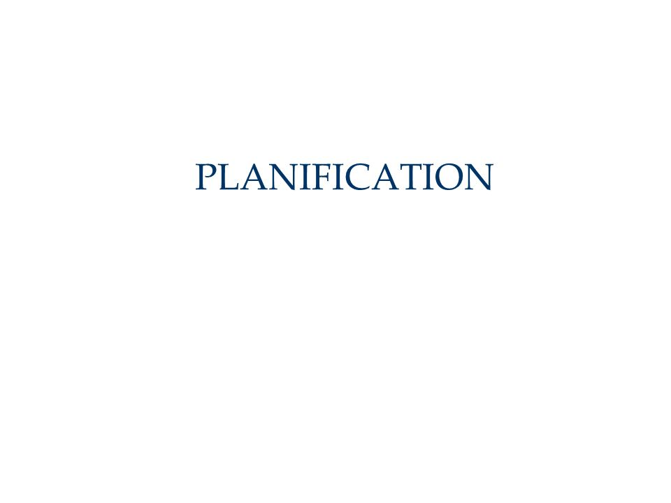 PLANIFICATION