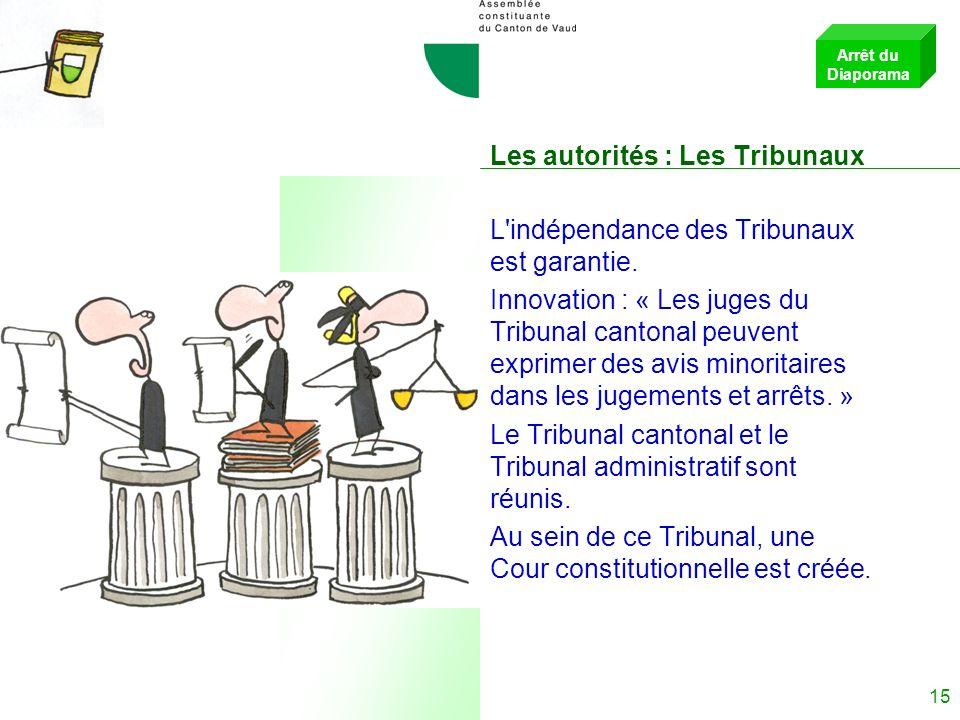 14 Les autorités : Le Conseil dEtat Pour renforcer la cohérence du Gouvernement, les décisions suivantes sont prises : le président ou la présidente d