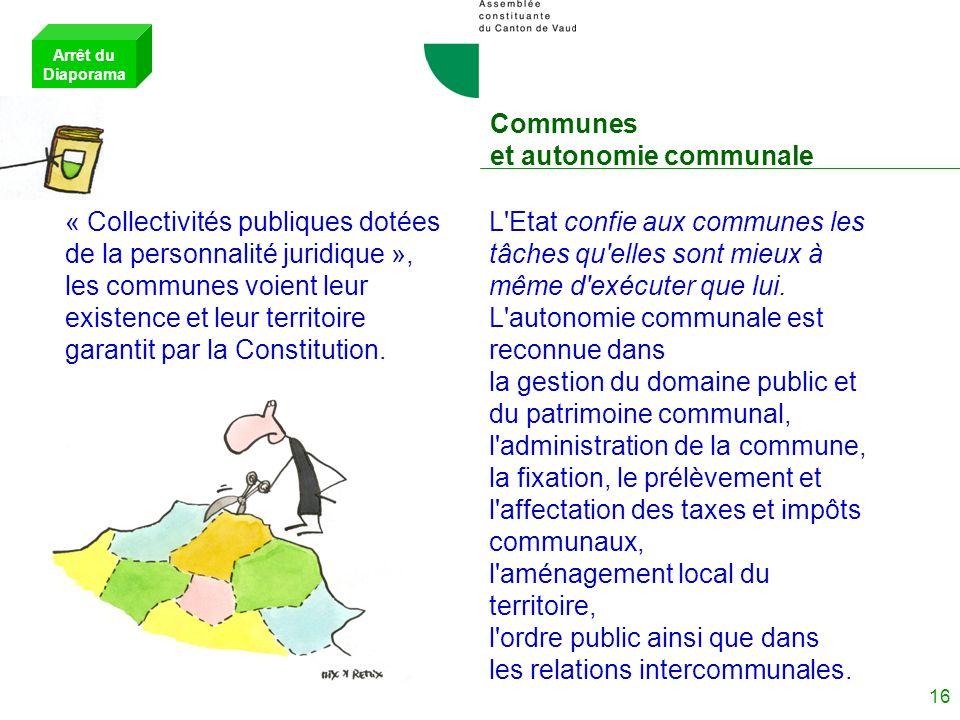 15 Les autorités : Les Tribunaux L'indépendance des Tribunaux est garantie. Innovation : « Les juges du Tribunal cantonal peuvent exprimer des avis mi