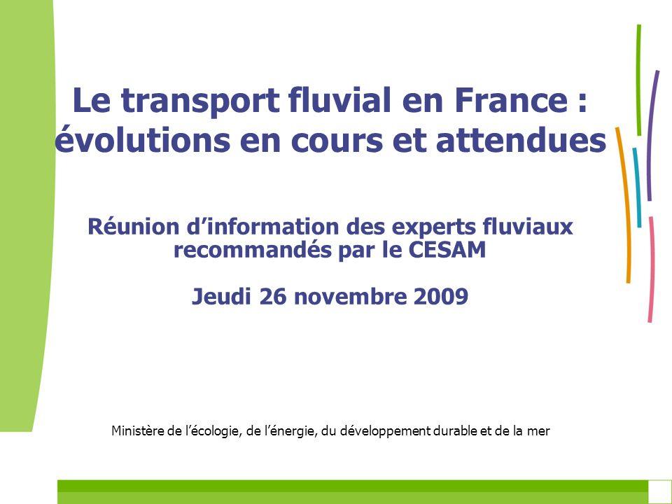 Le transport fluvial en France : évolutions en cours et attendues Réunion dinformation des experts fluviaux recommandés par le CESAM Jeudi 26 novembre