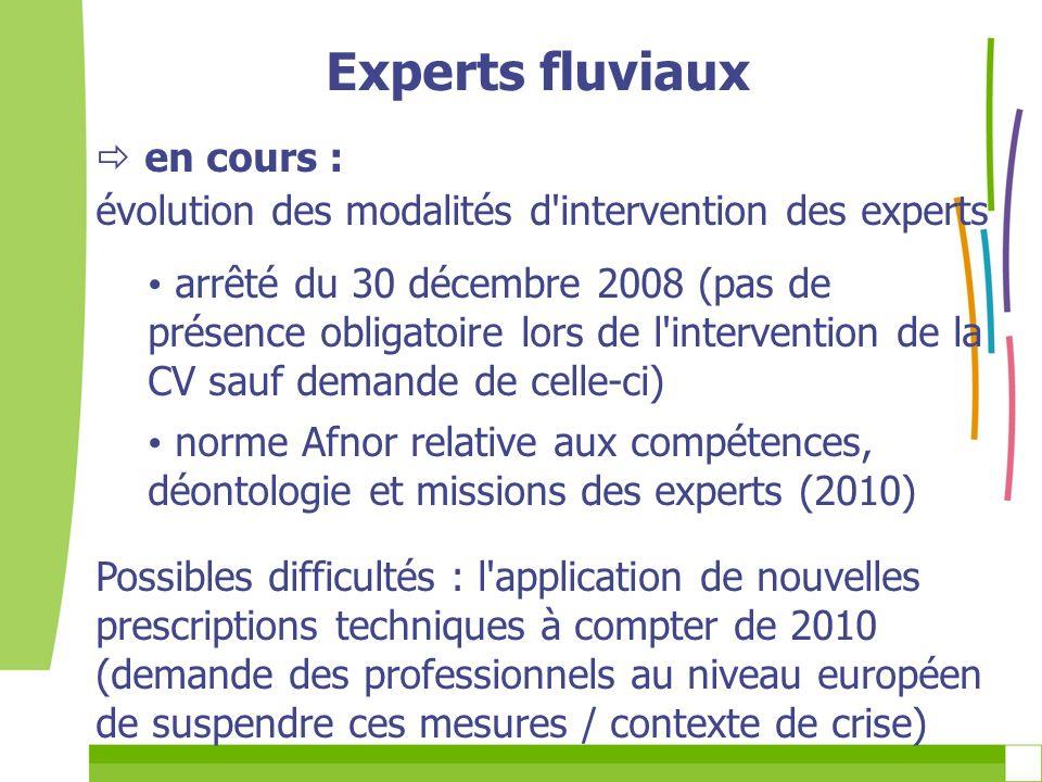 Experts fluviaux en cours : évolution des modalités d'intervention des experts arrêté du 30 décembre 2008 (pas de présence obligatoire lors de l'inter