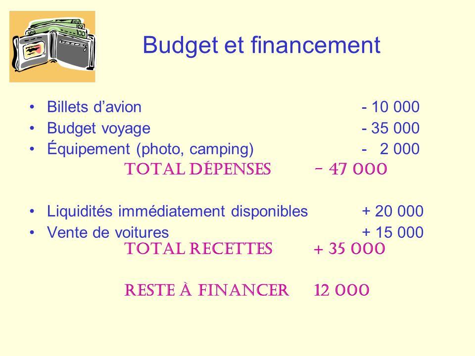 Billets davion- 10 000 Budget voyage - 35 000 Équipement (photo, camping) - 2 000 Total Dépenses - 47 000 Liquidités immédiatement disponibles+ 20 000