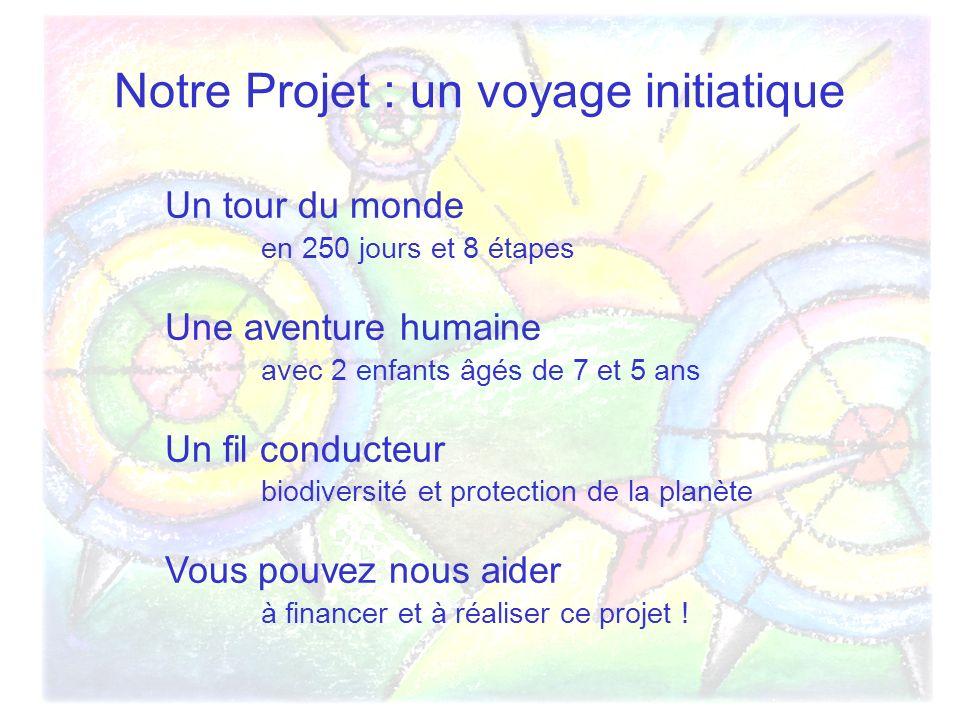 Notre Projet : un voyage initiatique Un tour du monde en 250 jours et 8 étapes Une aventure humaine avec 2 enfants âgés de 7 et 5 ans Un fil conducteur biodiversité et protection de la planète Vous pouvez nous aider à financer et à réaliser ce projet !