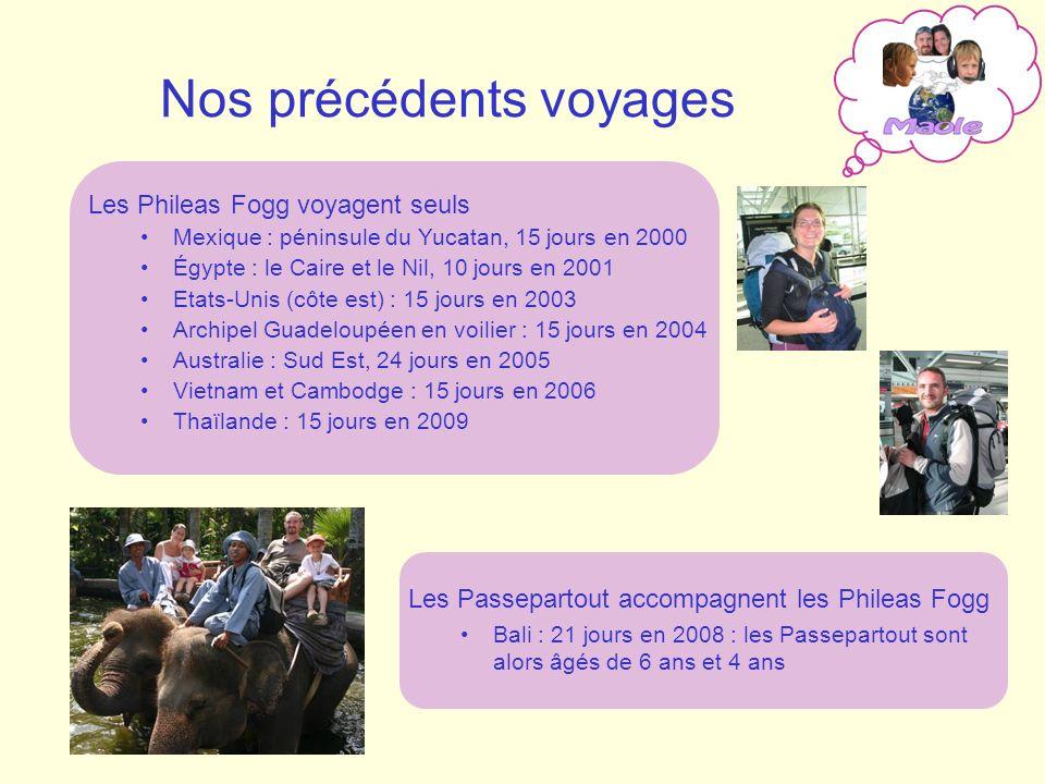 Nos précédents voyages Les Phileas Fogg voyagent seuls Mexique : péninsule du Yucatan, 15 jours en 2000 Égypte : le Caire et le Nil, 10 jours en 2001 Etats-Unis (côte est) : 15 jours en 2003 Archipel Guadeloupéen en voilier : 15 jours en 2004 Australie : Sud Est, 24 jours en 2005 Vietnam et Cambodge : 15 jours en 2006 Thaïlande : 15 jours en 2009 Les Passepartout accompagnent les Phileas Fogg Bali : 21 jours en 2008 : les Passepartout sont alors âgés de 6 ans et 4 ans