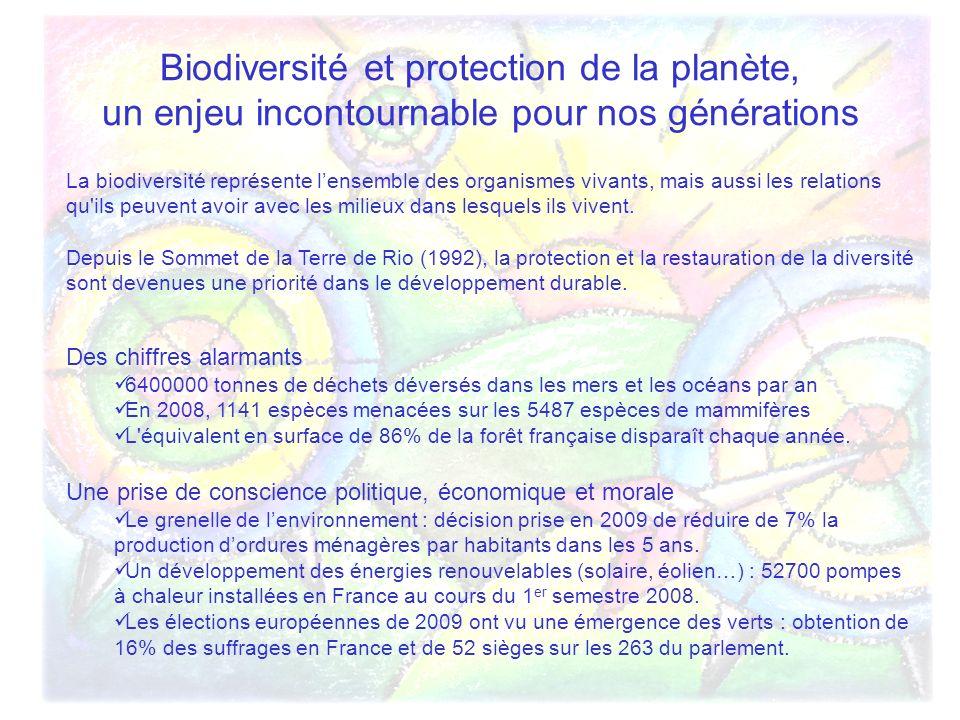 Biodiversité et protection de la planète, un enjeu incontournable pour nos générations La biodiversité représente lensemble des organismes vivants, mais aussi les relations qu ils peuvent avoir avec les milieux dans lesquels ils vivent.