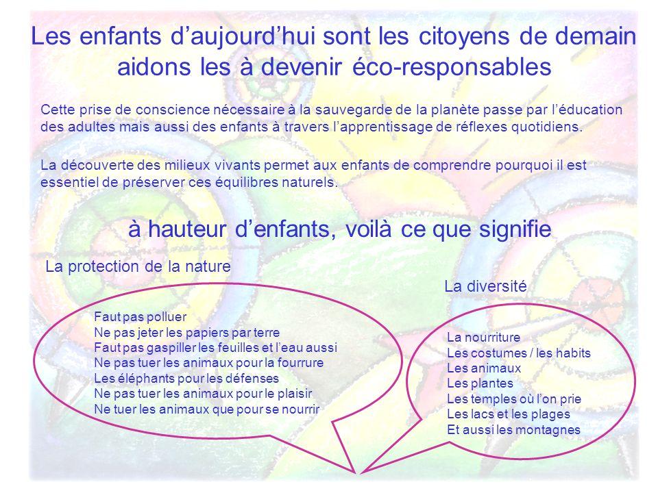 Les enfants daujourdhui sont les citoyens de demain aidons les à devenir éco-responsables Cette prise de conscience nécessaire à la sauvegarde de la p