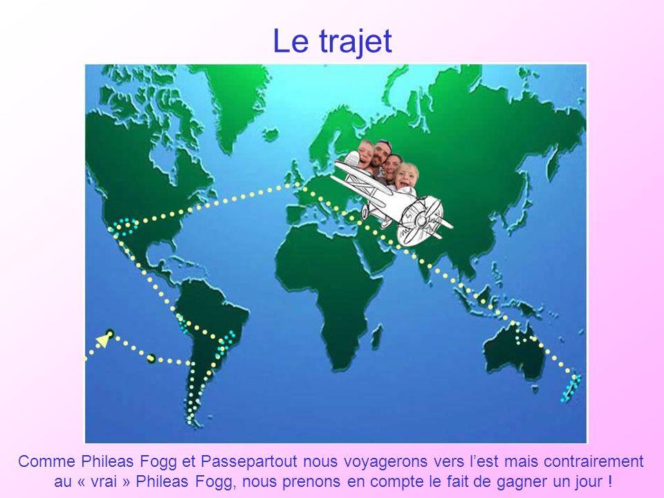 Le trajet Comme Phileas Fogg et Passepartout nous voyagerons vers lest mais contrairement au « vrai » Phileas Fogg, nous prenons en compte le fait de gagner un jour !