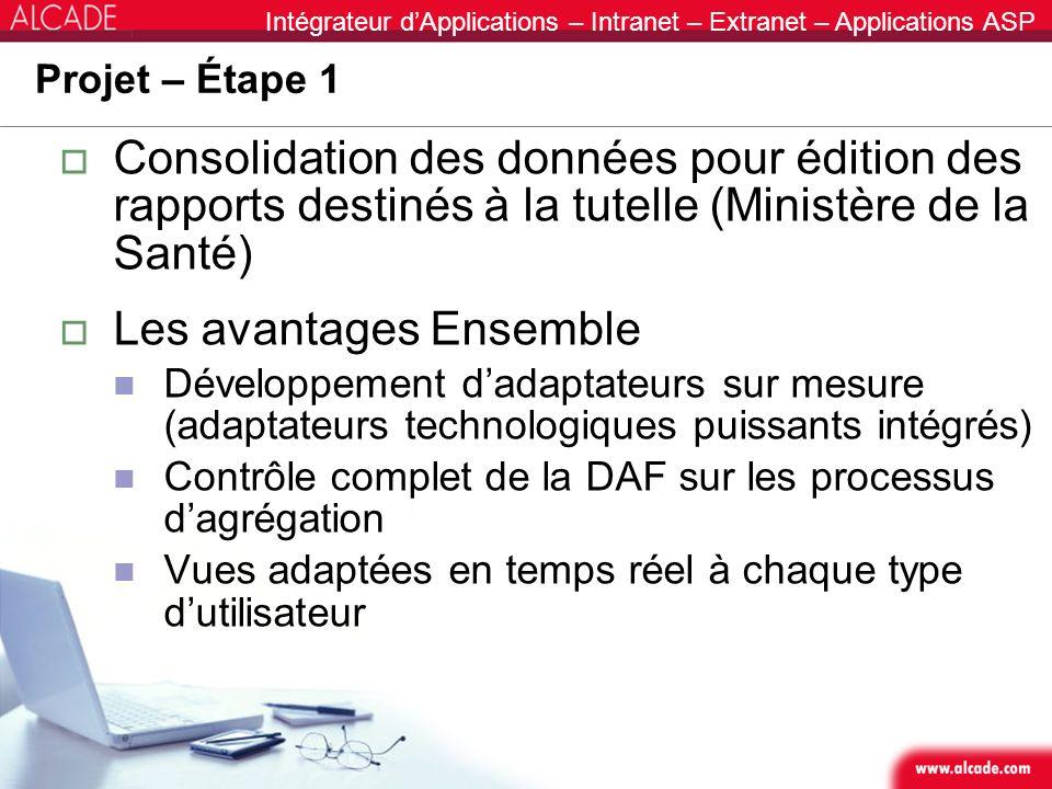 Intégrateur dApplications – Intranet – Extranet – Applications ASP Projet – Étape 1 Consolidation des données pour édition des rapports destinés à la