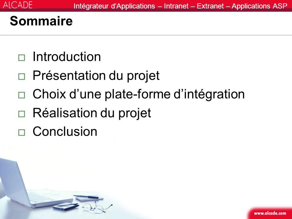 Intégrateur dApplications – Intranet – Extranet – Applications ASP Sommaire Introduction Présentation du projet Choix dune plate-forme dintégration Ré