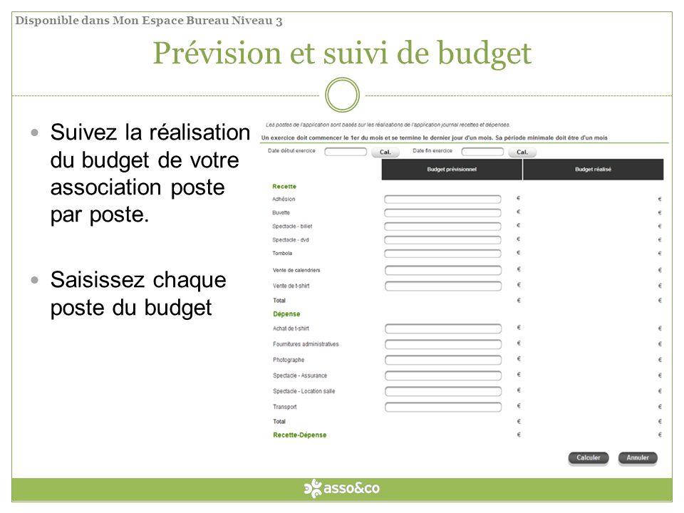 Prévision et suivi de budget Suivez la réalisation du budget de votre association poste par poste.