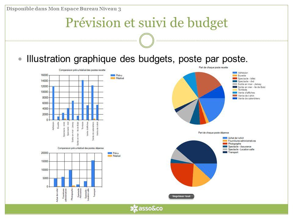 Prévision et suivi de budget Illustration graphique des budgets, poste par poste.