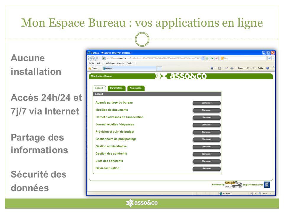Mon Espace Bureau : vos applications en ligne Partage des informations Aucune installation Sécurité des données Accès 24h/24 et 7j/7 via Internet