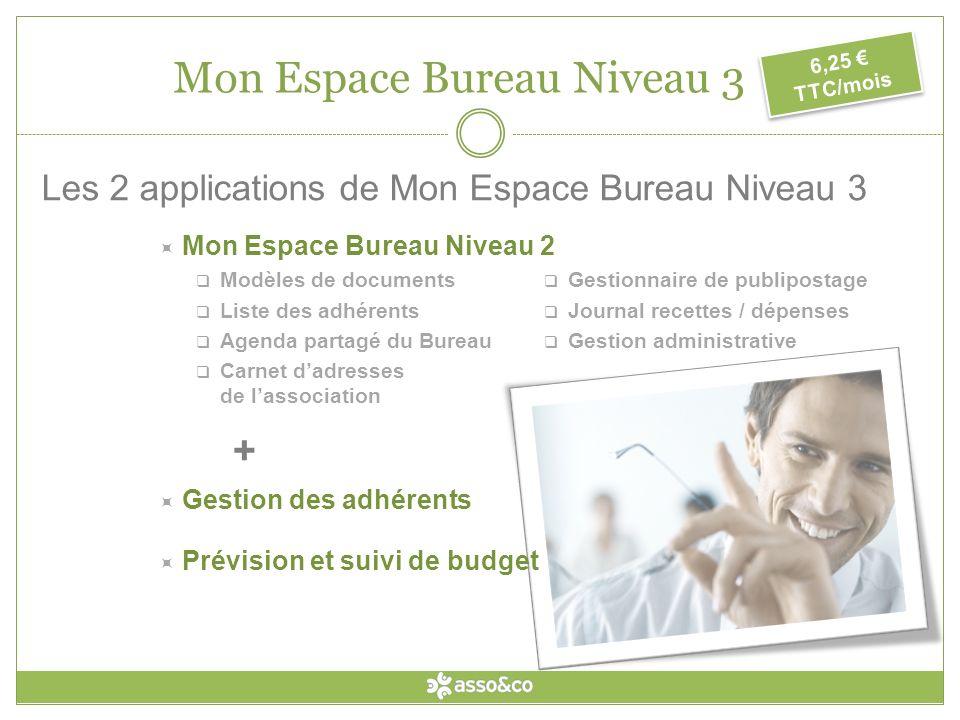 Mon Espace Bureau Mon Espace Bureau Niveau 1 GRATUIT Mon Espace Bureau Niveau 2 2,50 TTC / mois Mon Espace Bureau Niveau 3 6,25 TTC / mois
