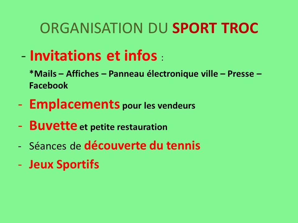 ORGANISATION DU SPORT TROC - Invitations et infos : *Mails – Affiches – Panneau électronique ville – Presse – Facebook -Emplacements pour les vendeurs
