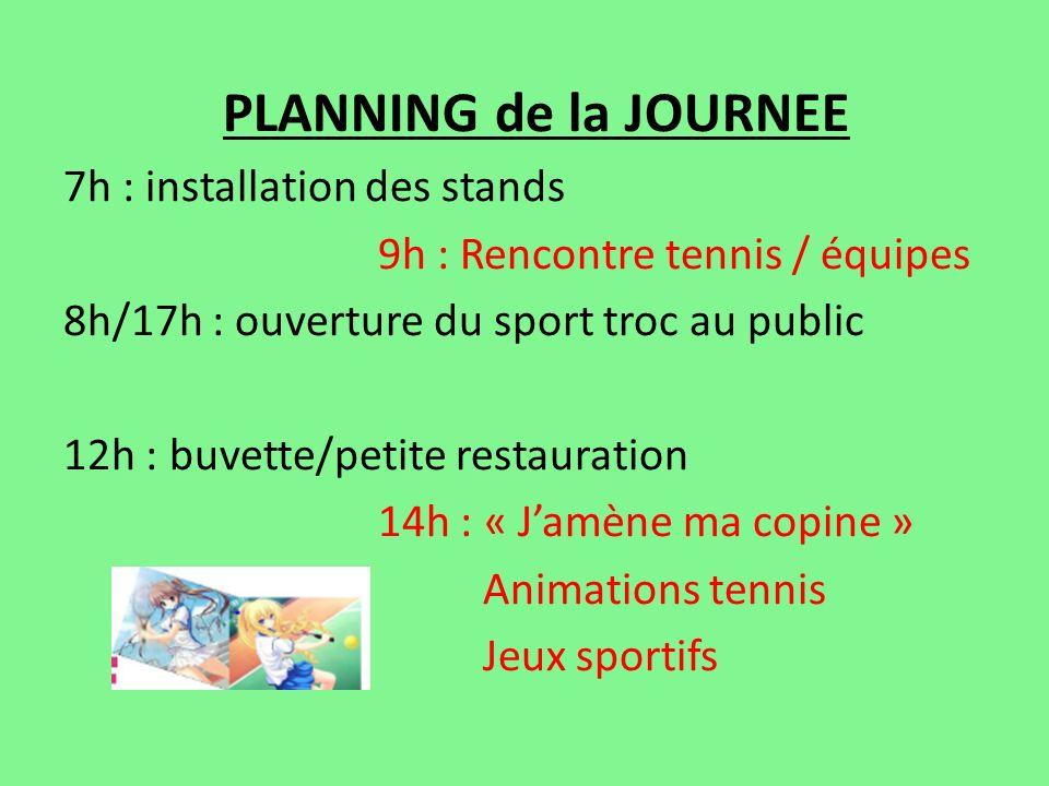 PLANNING de la JOURNEE 7h : installation des stands 9h : Rencontre tennis / équipes 8h/17h : ouverture du sport troc au public 12h : buvette/petite re
