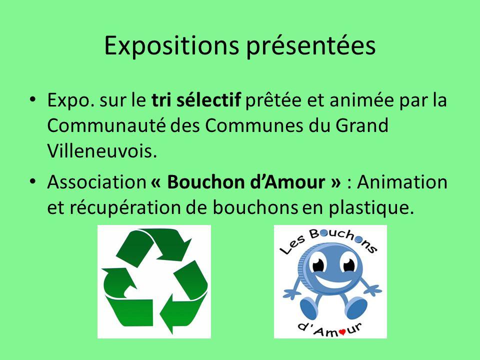 Expositions présentées Expo. sur le tri sélectif prêtée et animée par la Communauté des Communes du Grand Villeneuvois. Association « Bouchon dAmour »