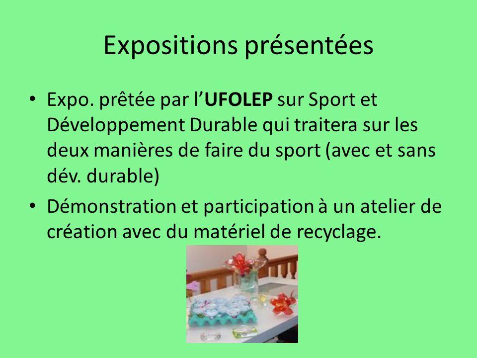 Expositions présentées Expo. prêtée par lUFOLEP sur Sport et Développement Durable qui traitera sur les deux manières de faire du sport (avec et sans