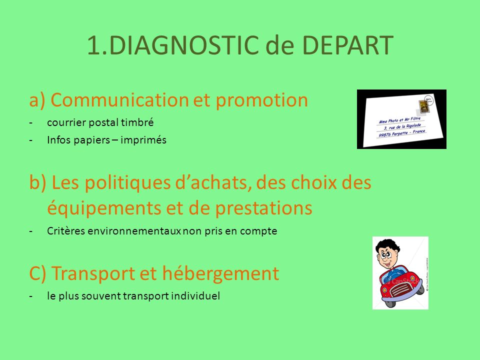 1.DIAGNOSTIC de DEPART a) Communication et promotion -courrier postal timbré -Infos papiers – imprimés b) Les politiques dachats, des choix des équipe