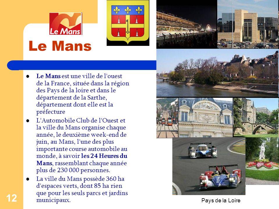 Pays de la Loire 11 ANGERS C'est le chef-lieu du département de Maine-et- Loire dans la région Pays de la Loire. Ses habitants s'appellent les Angevin