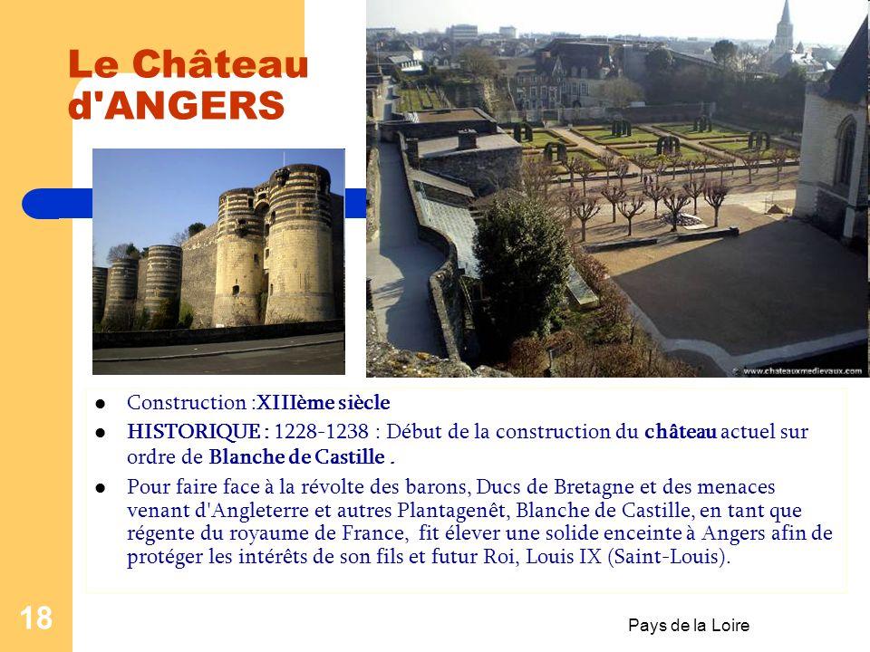 Pays de la Loire 17 Le Château de SAUMUR Construction : Xème siècle Le château de Saumur, place fortifiée depuis le Xème siècle et propriété du comte