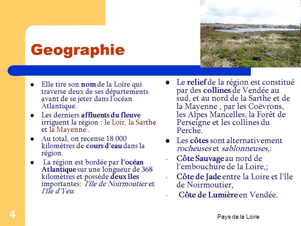 3 Fiche didentité La région du Pays de la Loire est composée de : 5 départements (Loire-Atlantique,Maine-et- Loire,Mayenne,Sarthe et Vendée) ; 17 arro