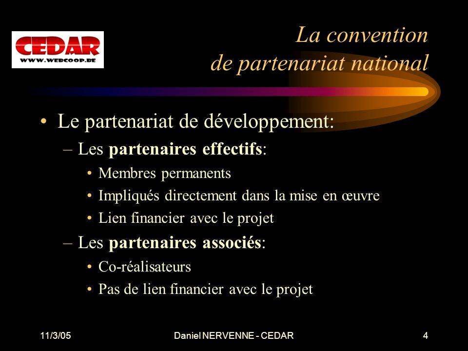 11/3/05Daniel NERVENNE - CEDAR4 La convention de partenariat national Le partenariat de développement: –Les partenaires effectifs: Membres permanents
