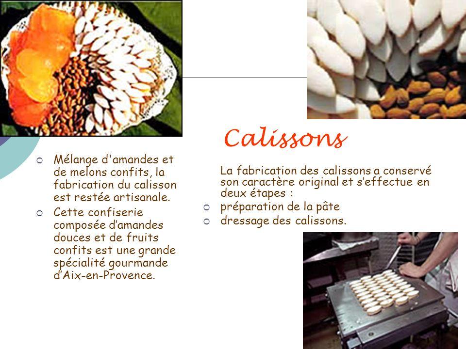 Calissons Mélange d'amandes et de melons confits, la fabrication du calisson est restée artisanale. Cette confiserie composée damandes douces et de fr