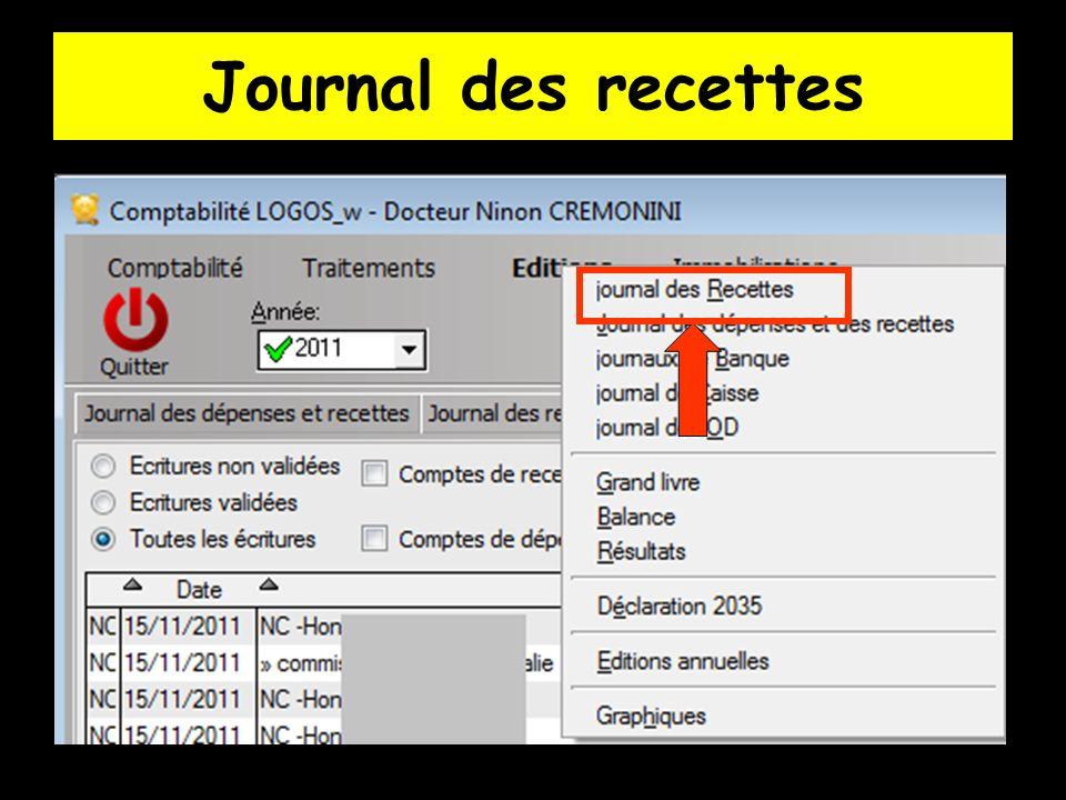 C est la consultation exclusive des fichiers de recettes (livre des recettes) dans une table ou sur papier après impression, pour le praticien concerné