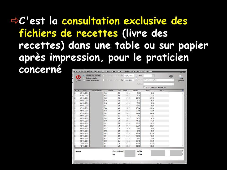 C'est la consultation exclusive des fichiers de recettes (livre des recettes) dans une table ou sur papier après impression, pour le praticien concern