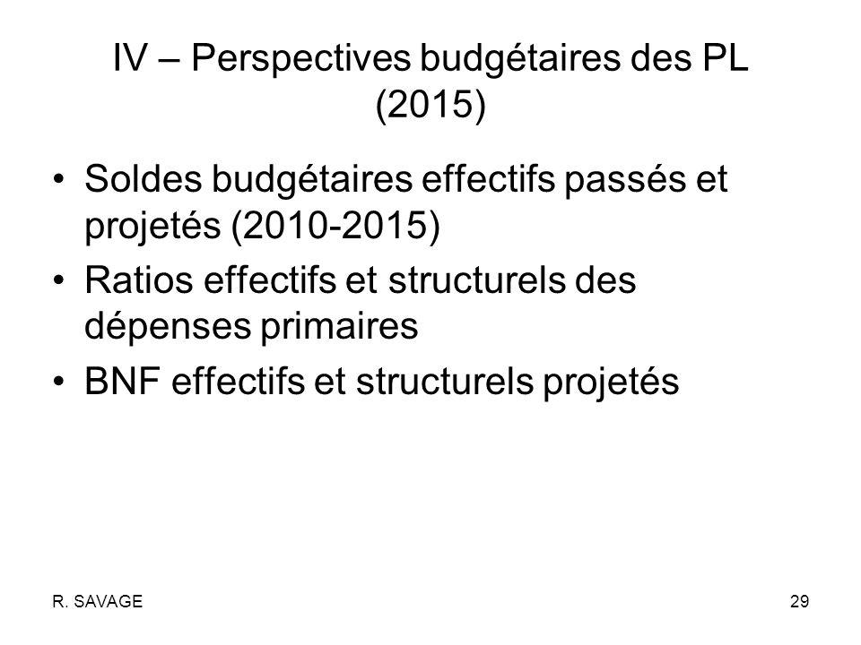 R. SAVAGE29 IV – Perspectives budgétaires des PL (2015) Soldes budgétaires effectifs passés et projetés (2010-2015) Ratios effectifs et structurels de