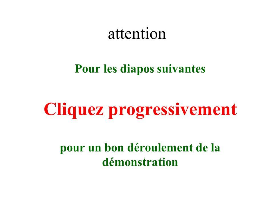 attention Pour les diapos suivantes Cliquez progressivement pour un bon déroulement de la démonstration
