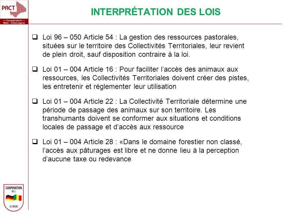 Loi 96 – 050 Article 54 : La gestion des ressources pastorales, situées sur le territoire des Collectivités Territoriales, leur revient de plein droit