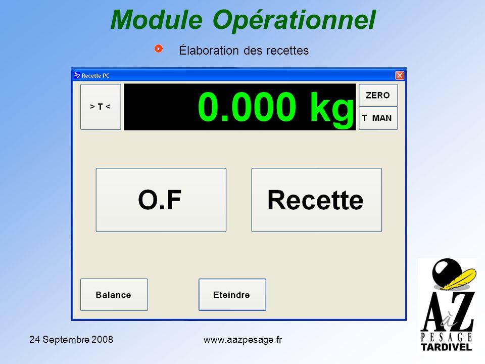 24 Septembre 2008www.aazpesage.fr Élaboration des recettes Module Opérationnel