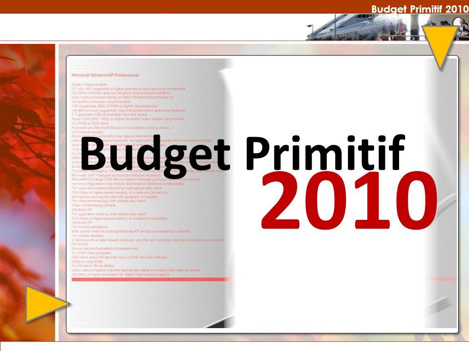 Budget Primitif 2010 Budget Primitif 2010