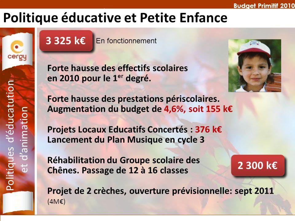 Budget Primitif 2010 Forte hausse des effectifs scolaires en 2010 pour le 1 er degré. Forte hausse des prestations périscolaires. Augmentation du budg