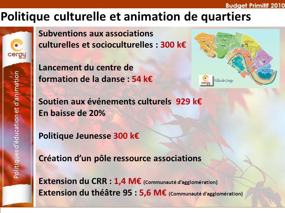 Budget Primitif 2010 Politique culturelle et animation de quartiers Subventions aux associations culturelles et socioculturelles : 300 k Lancement du