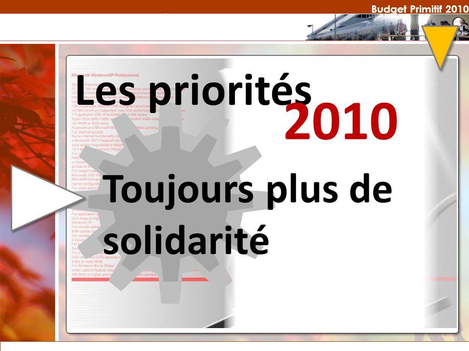 Budget Primitif 2010 Les priorités 2010 Toujours plus de solidarité
