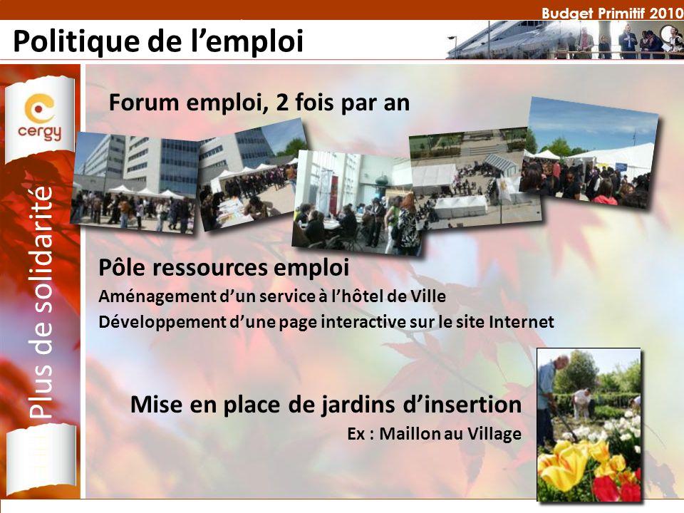 Budget Primitif 2010 Politique de lemploi Forum emploi, 2 fois par an Plus de solidarité Mise en place de jardins dinsertion Ex : Maillon au Village P