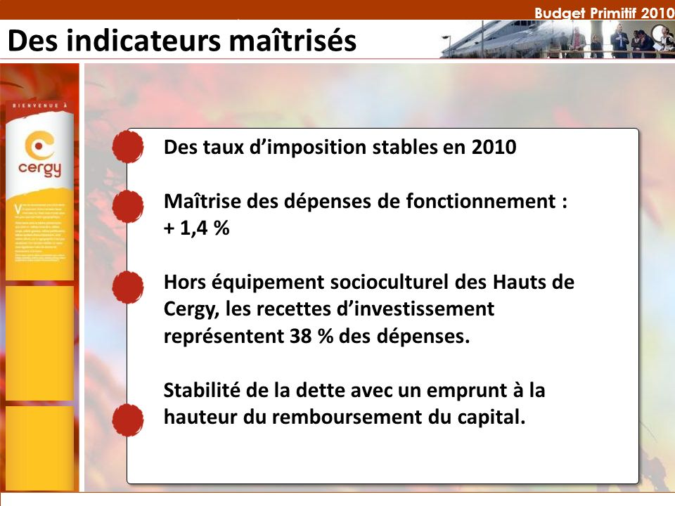 Budget Primitif 2010 Des indicateurs maîtrisés Des taux dimposition stables en 2010 Maîtrise des dépenses de fonctionnement : + 1,4 % Hors équipement socioculturel des Hauts de Cergy, les recettes dinvestissement représentent 38 % des dépenses.
