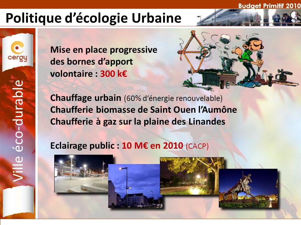 Budget Primitif 2010 Politique décologie Urbaine Mise en place progressive des bornes dapport volontaire : 300 k Chauffage urbain (60% dénergie renouv