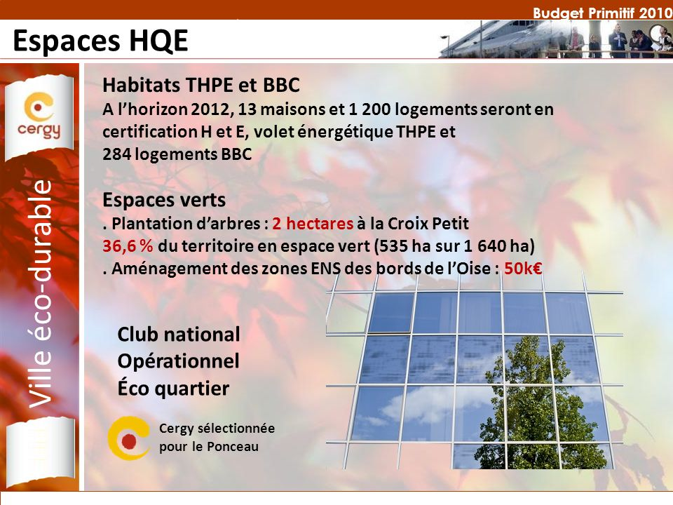Budget Primitif 2010 Espaces HQE Ville éco-durable Habitats THPE et BBC A lhorizon 2012, 13 maisons et 1 200 logements seront en certification H et E, volet énergétique THPE et 284 logements BBC Espaces verts.