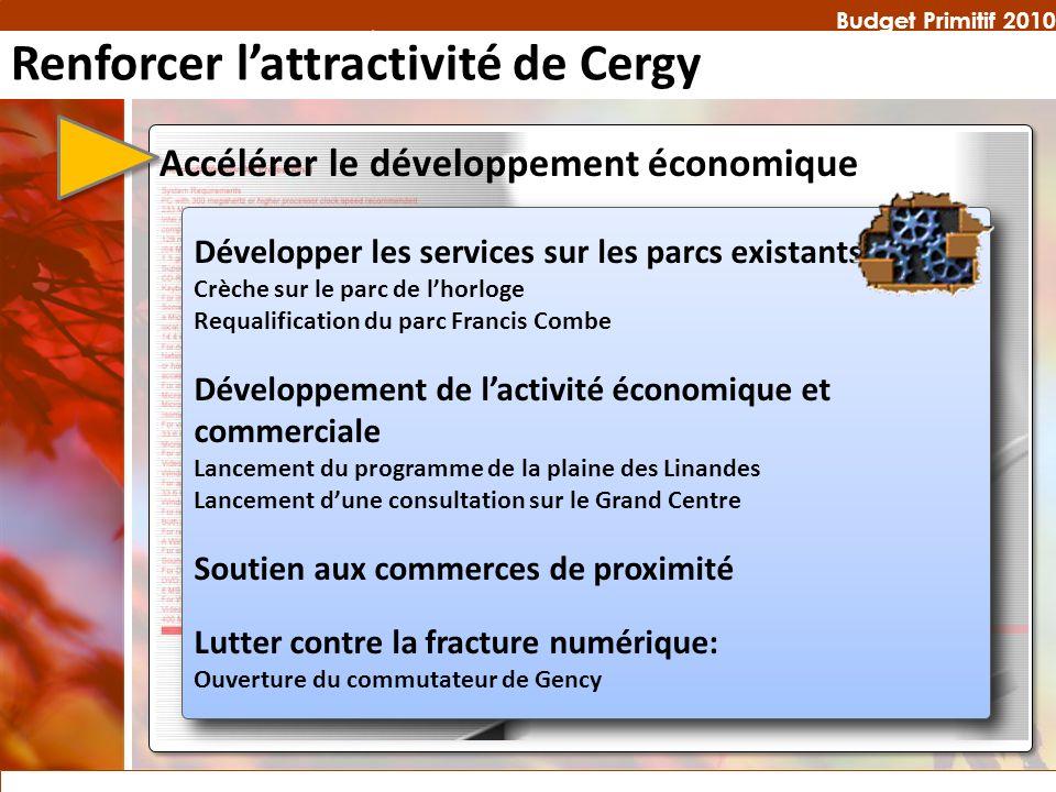 Budget Primitif 2010 Développer les services sur les parcs existants Crèche sur le parc de lhorloge Requalification du parc Francis Combe Développemen